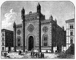 Den jødiske synagoge i Leopoldstadt før den blev revet ned i 1938