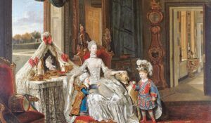 Dronning Charlotte af England med hendes to ældste sønner